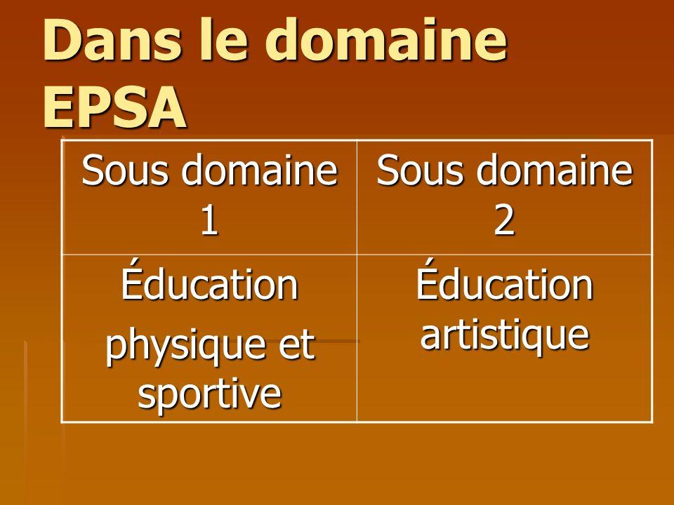 Dans le domaine EPSA Sous domaine 1 Sous domaine 2 Éducation physique et sportive Éducation artistique