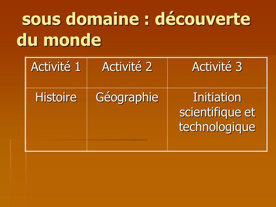 sous domaine : découverte du monde sous domaine : découverte du monde Activité 1 Activité 2 Activité 3 HistoireGéographie Initiation scientifique et t