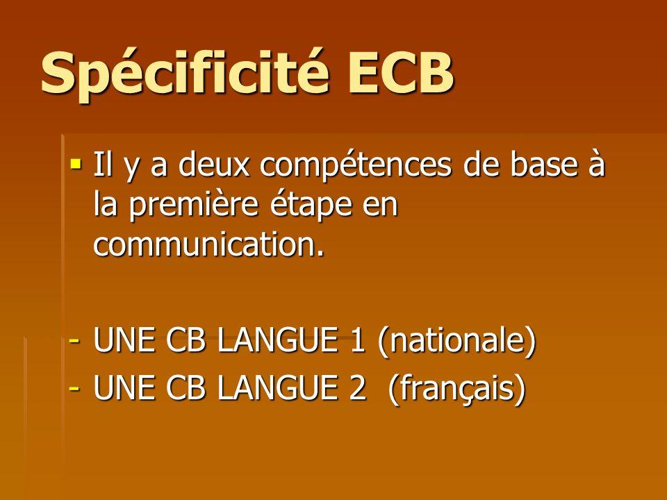 Spécificité ECB Il y a deux compétences de base à la première étape en communication. Il y a deux compétences de base à la première étape en communica