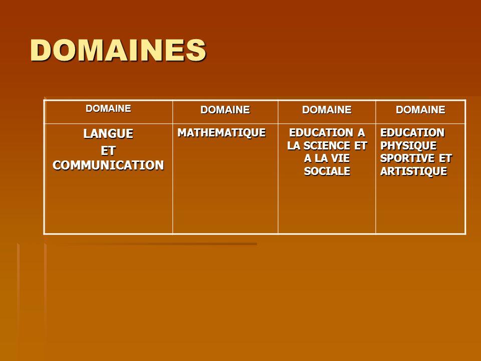 DOMAINES DOMAINEDOMAINEDOMAINEDOMAINE LANGUE ET COMMUNICATION MATHEMATIQUE EDUCATION A LA SCIENCE ET A LA VIE SOCIALE EDUCATION PHYSIQUE SPORTIVE ET A