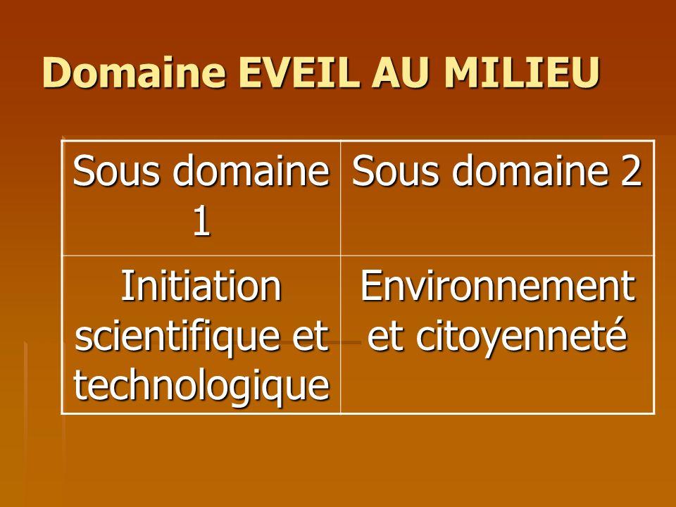 Domaine EVEIL AU MILIEU Sous domaine 1 Sous domaine 2 Initiation scientifique et technologique Environnement et citoyenneté