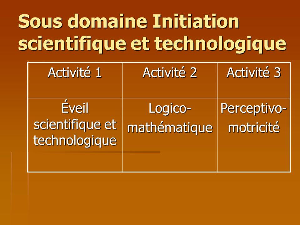 Sous domaine Initiation scientifique et technologique Activité 1 Activité 2 Activité 3 Éveil scientifique et technologique Logico-mathématiquePercepti