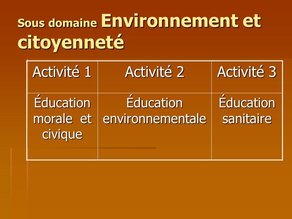 Sous domaine Environnement et citoyenneté Activité 1 Activité 2 Activité 3 Éducation morale et civique Éducation environnementale Éducation sanitaire