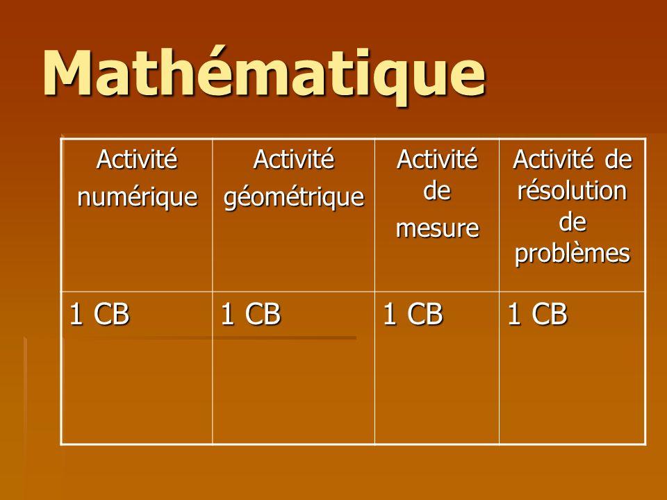 Mathématique ActiviténumériqueActivitégéométrique Activité de mesure Activité de résolution de problèmes 1 CB