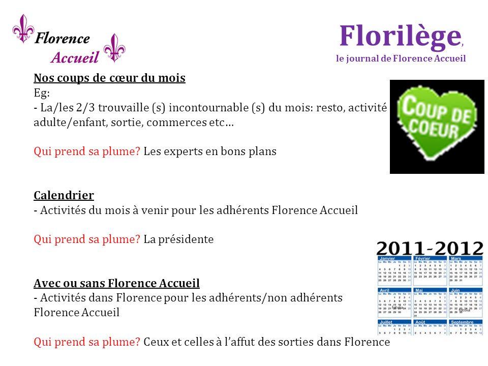 Florilège, le journal de Florence Accueil Nos coups de cœur du mois Eg: - La/les 2/3 trouvaille (s) incontournable (s) du mois: resto, activité adulte