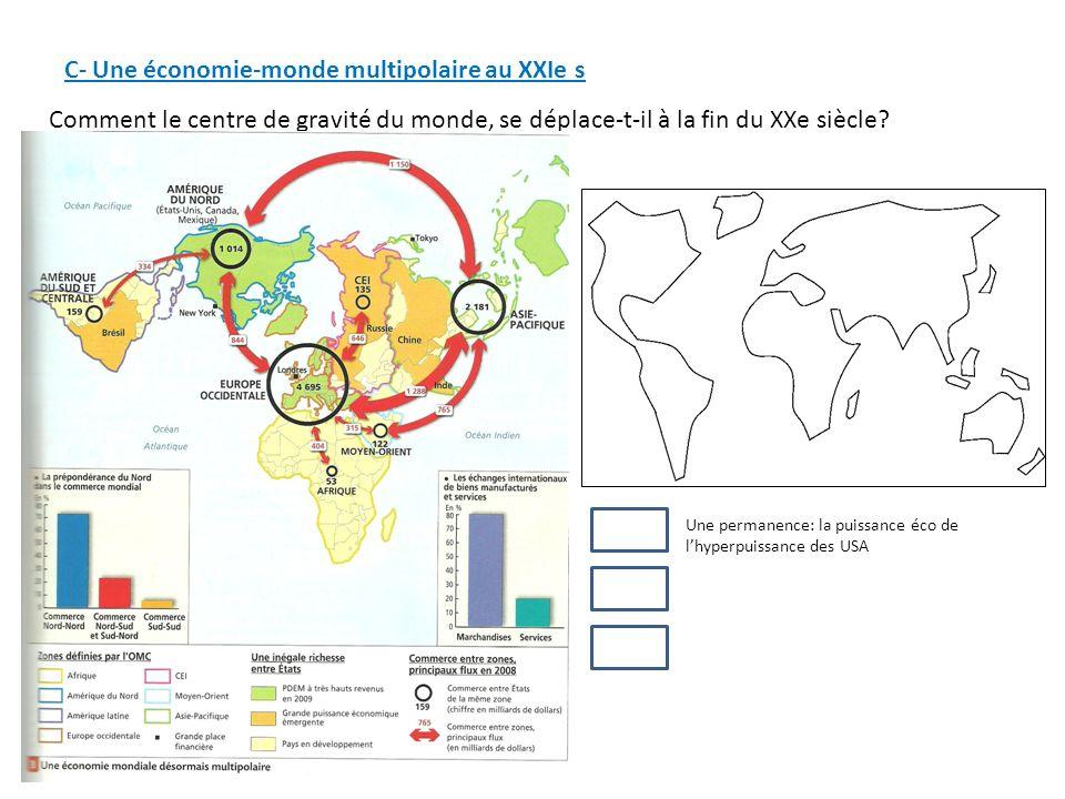 C- Une économie-monde multipolaire au XXIe s Comment le centre de gravité du monde, se déplace-t-il à la fin du XXe siècle? Une permanence: la puissan