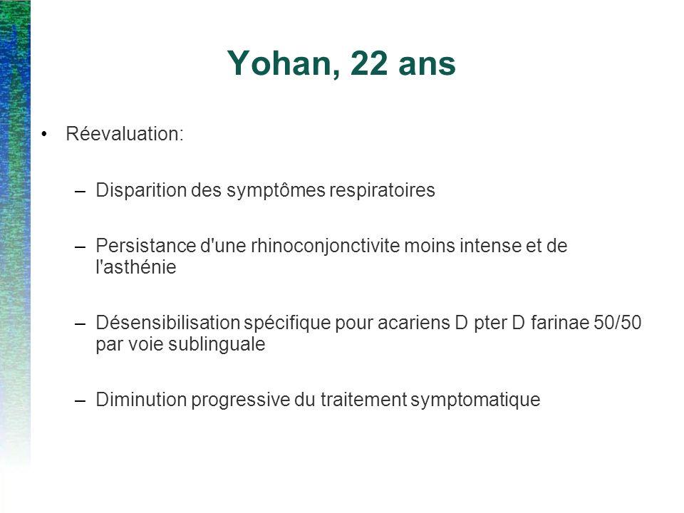 Yohan, 22 ans Réevaluation: –Disparition des symptômes respiratoires –Persistance d'une rhinoconjonctivite moins intense et de l'asthénie –Désensibili