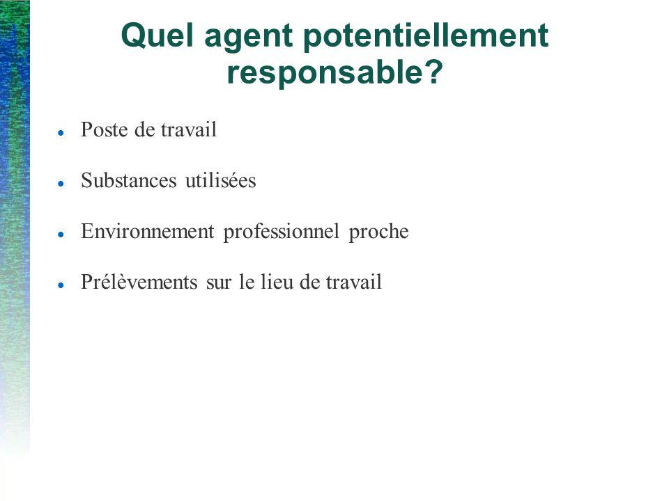 Quel agent potentiellement responsable? Poste de travail Substances utilisées Environnement professionnel proche Prélèvements sur le lieu de travail