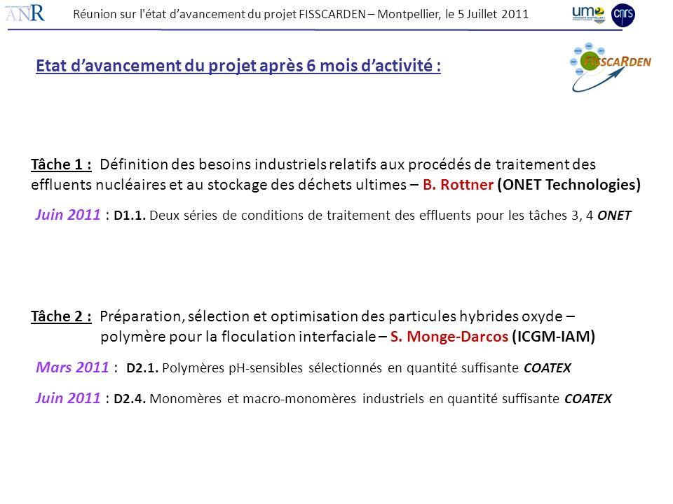 Etat davancement du projet après 6 mois dactivité : Juin 2011 : D1.1. Deux séries de conditions de traitement des effluents pour les tâches 3, 4 ONET