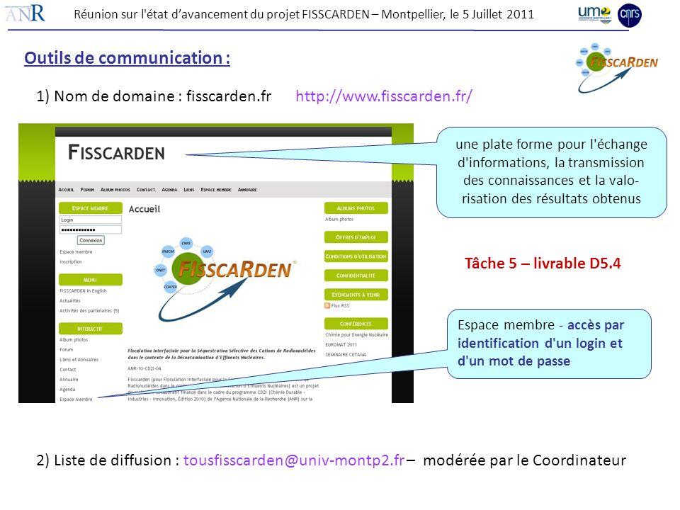 Outils de communication : 1) Nom de domaine : fisscarden.fr http://www.fisscarden.fr/ une plate forme pour l'échange d'informations, la transmission d
