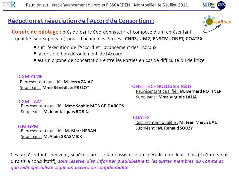 Réunion sur l'état davancement du projet FISSCARDEN – Montpellier, le 5 Juillet 2011 Rédaction et négociation de l'Accord de Consortium : Comité de pi