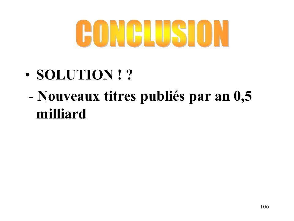 106 SOLUTION ! ? - Nouveaux titres publiés par an 0,5 milliard