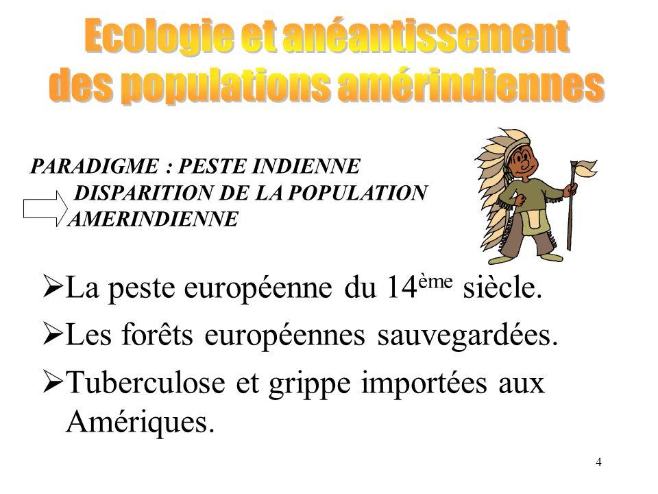 4 La peste européenne du 14 ème siècle. Les forêts européennes sauvegardées. Tuberculose et grippe importées aux Amériques. PARADIGME : PESTE INDIENNE