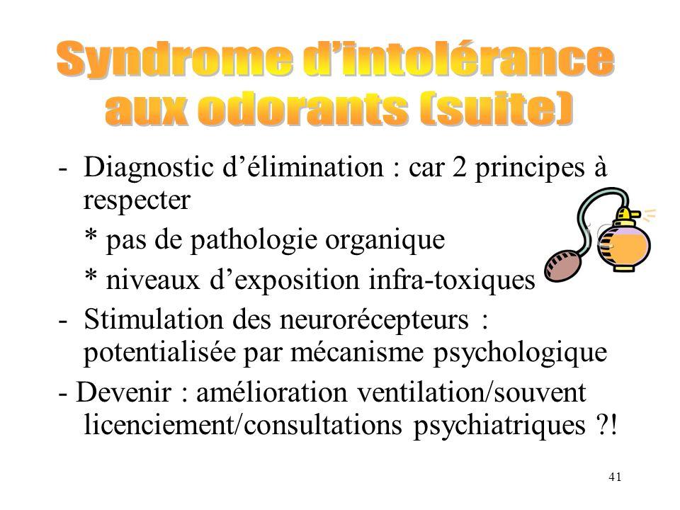 41 -Diagnostic délimination : car 2 principes à respecter * pas de pathologie organique * niveaux dexposition infra-toxiques -Stimulation des neuroréc