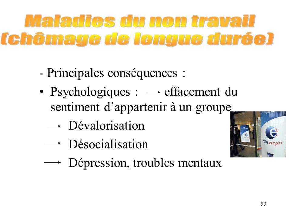 50 - Principales conséquences : Psychologiques : effacement du sentiment dappartenir à un groupe Dévalorisation Désocialisation Dépression, troubles m