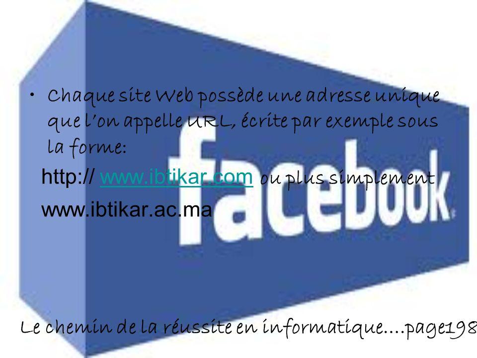 Le chemin de la réussite en informatique….page198 Chaque site Web possède une adresse unique que lon appelle URL, écrite par exemple sous la forme: http:// www.ibtikar.com ou plus simplementwww.ibtikar.com www.ibtikar.ac.ma
