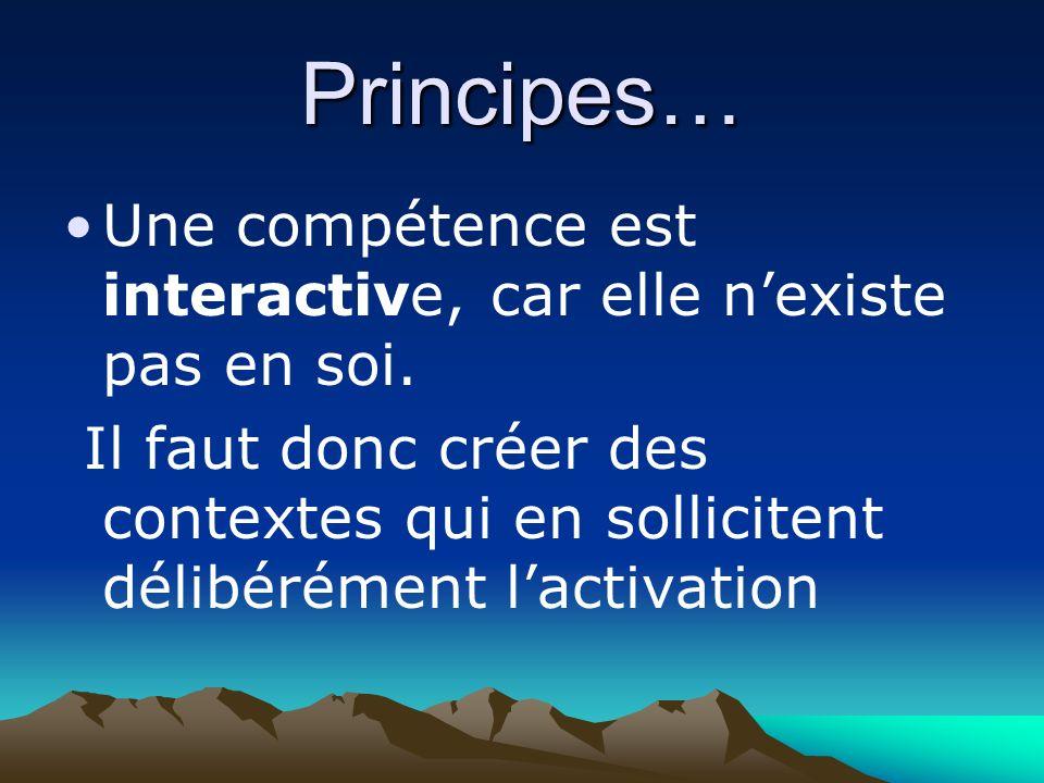 Principes… Une compétence est interactive, car elle nexiste pas en soi.