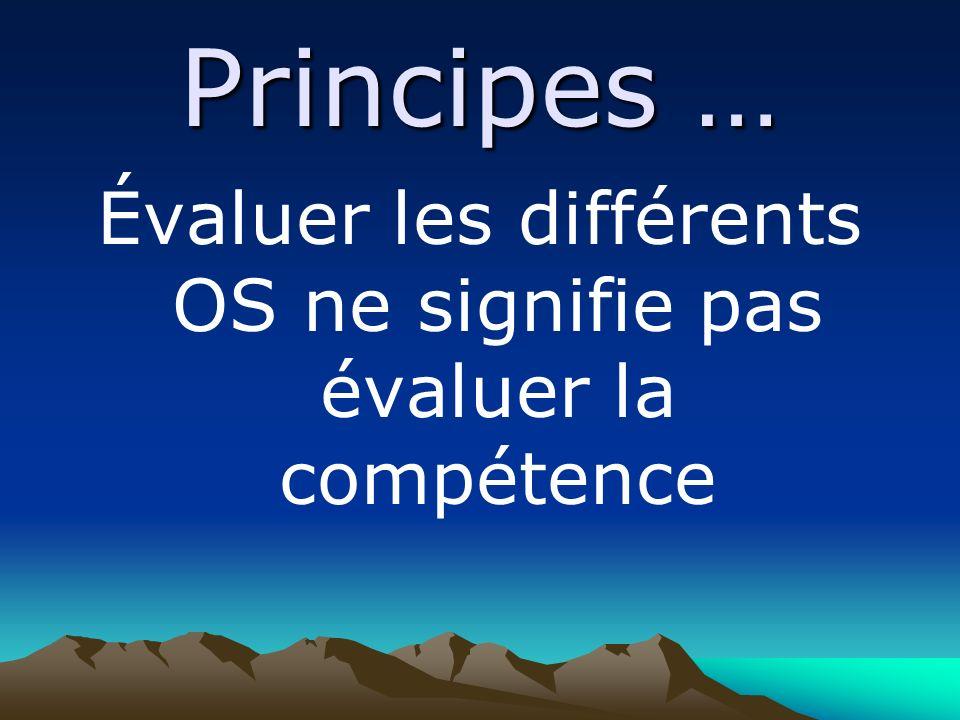 Principes … Évaluer les différents OS ne signifie pas évaluer la compétence