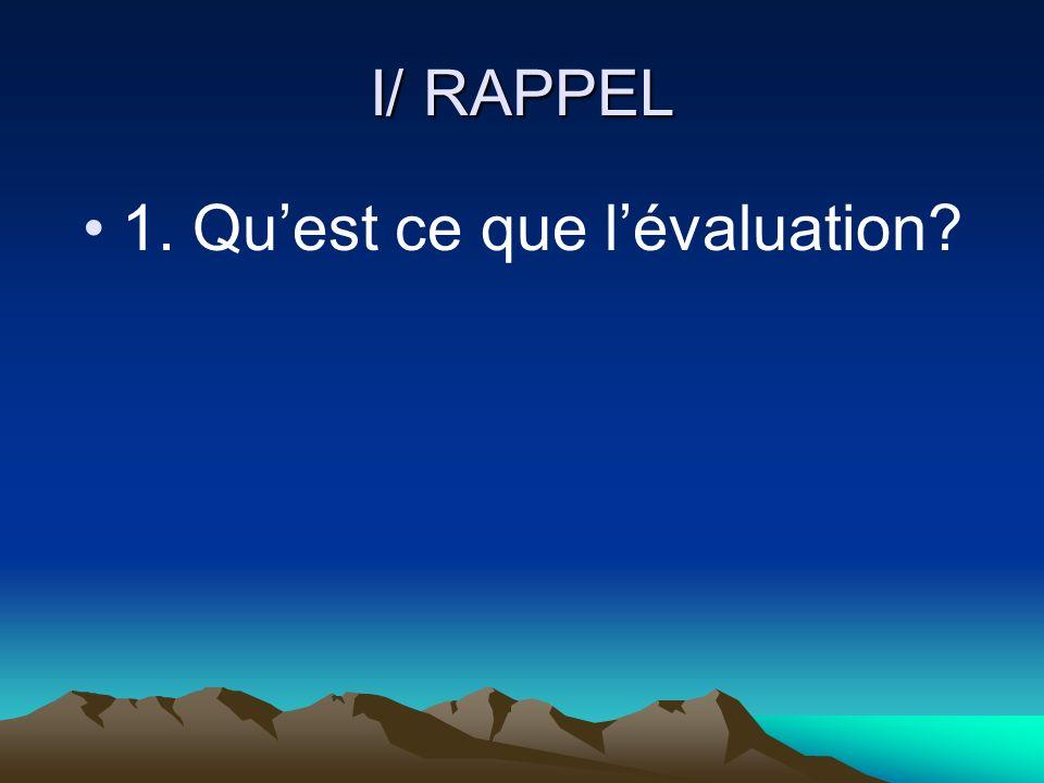 I/ RAPPEL 1. Quest ce que lévaluation