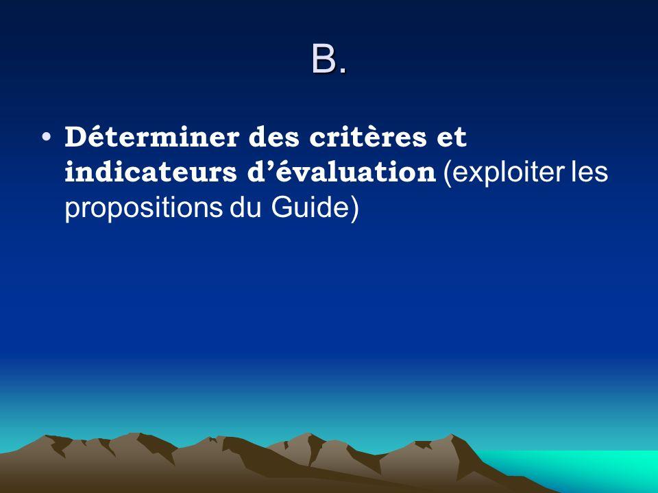 B. Déterminer des critères et indicateurs dévaluation (exploiter les propositions du Guide)
