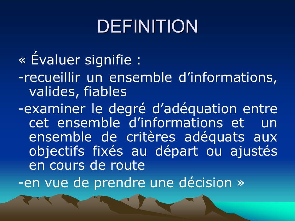DEFINITION « Évaluer signifie : -recueillir un ensemble dinformations, valides, fiables -examiner le degré dadéquation entre cet ensemble dinformations et un ensemble de critères adéquats aux objectifs fixés au départ ou ajustés en cours de route -en vue de prendre une décision »