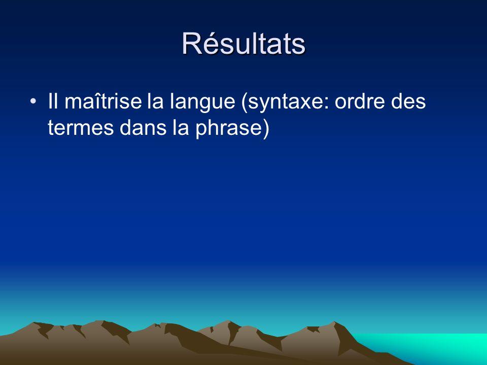 Résultats Il maîtrise la langue (syntaxe: ordre des termes dans la phrase)
