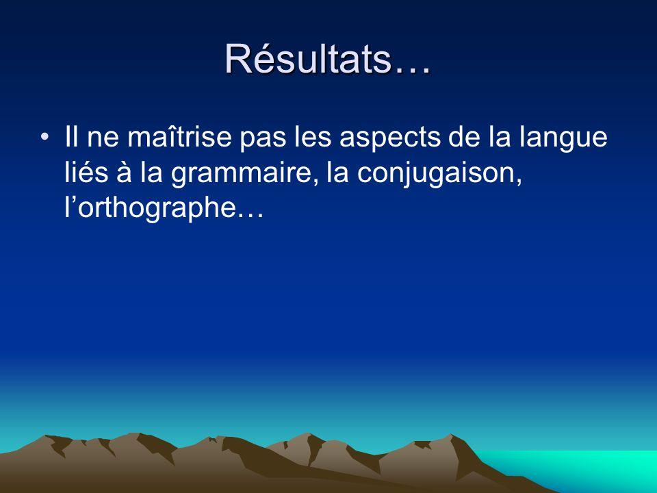 Résultats… Il ne maîtrise pas les aspects de la langue liés à la grammaire, la conjugaison, lorthographe…