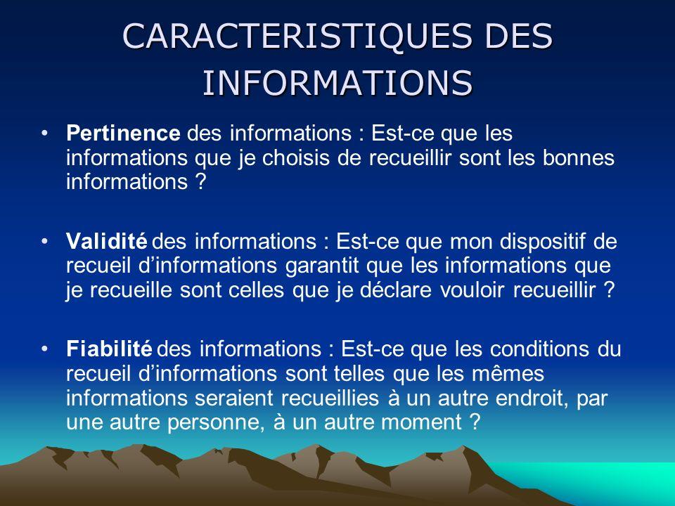 CARACTERISTIQUES DES INFORMATIONS Pertinence des informations : Est-ce que les informations que je choisis de recueillir sont les bonnes informations .
