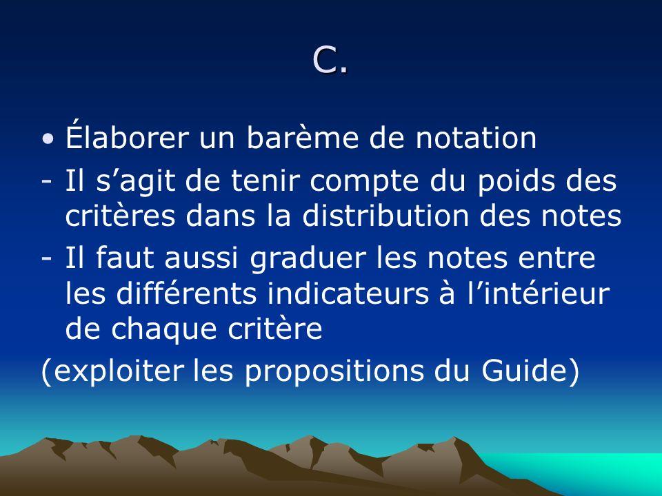 C. Élaborer un barème de notation -Il sagit de tenir compte du poids des critères dans la distribution des notes -Il faut aussi graduer les notes entr