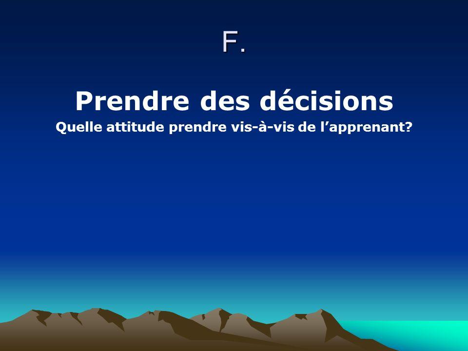 F. Prendre des décisions Quelle attitude prendre vis-à-vis de lapprenant