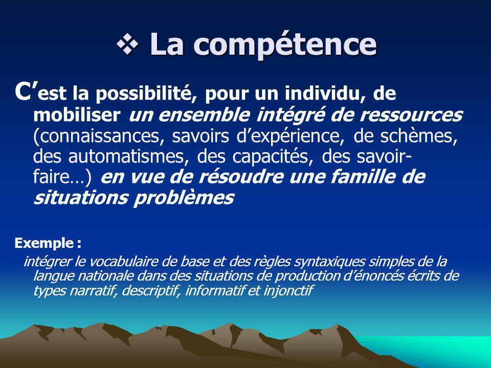 La compétence La compétence C est la possibilité, pour un individu, de mobiliser un ensemble intégré de ressources (connaissances, savoirs dexpérience