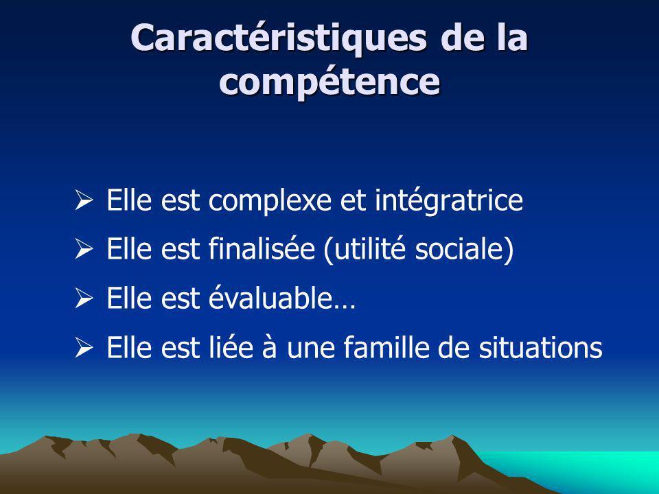 Caractéristiques de la compétence Elle est complexe et intégratrice Elle est finalisée (utilité sociale) Elle est évaluable… Elle est liée à une famil