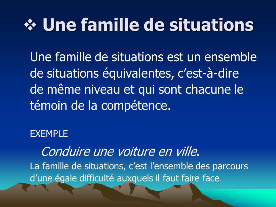 Une famille de situations Une famille de situations Une famille de situations est un ensemble de situations équivalentes, cest-à-dire de même niveau e