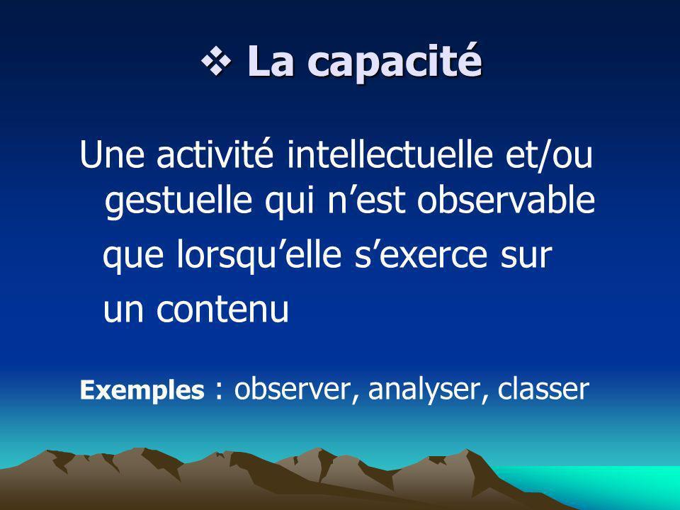 La capacité La capacité Une activité intellectuelle et/ou gestuelle qui nest observable que lorsquelle sexerce sur un contenu Exemples : observer, ana