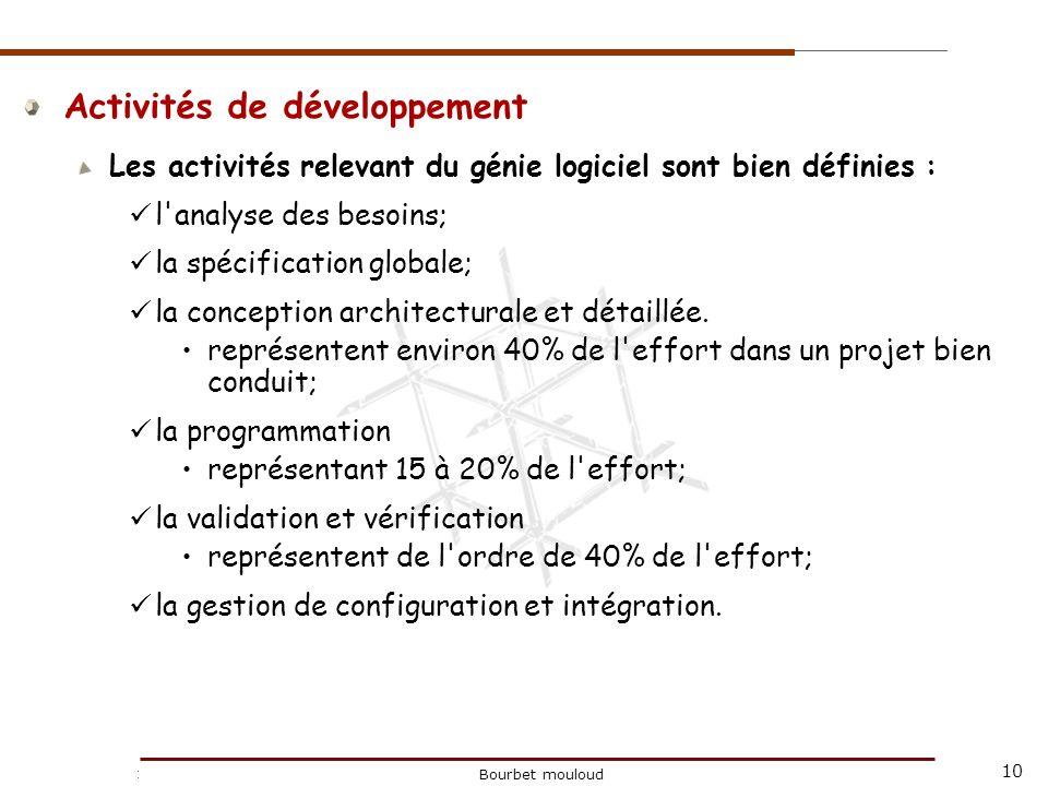 10 Christophe Tricot Bourbet mouloud Activités de développement Les activités relevant du génie logiciel sont bien définies : l'analyse des besoins; l
