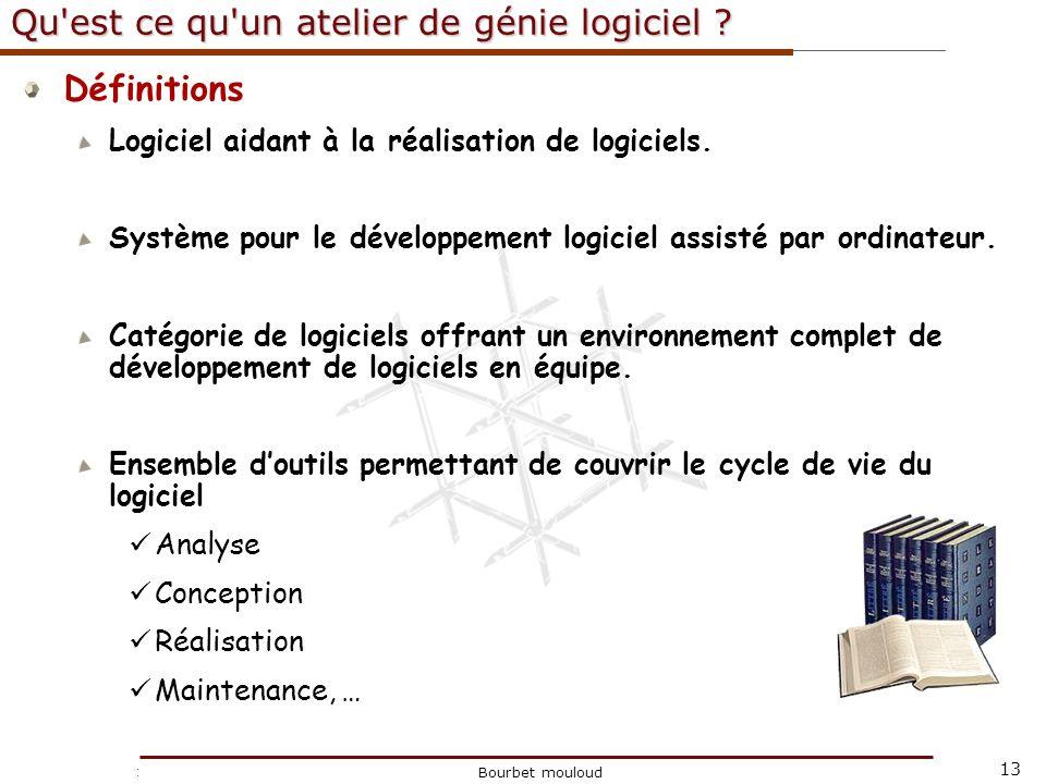 13 Christophe Tricot Bourbet mouloud Qu'est ce qu'un atelier de génie logiciel ? Définitions Logiciel aidant à la réalisation de logiciels. Système po