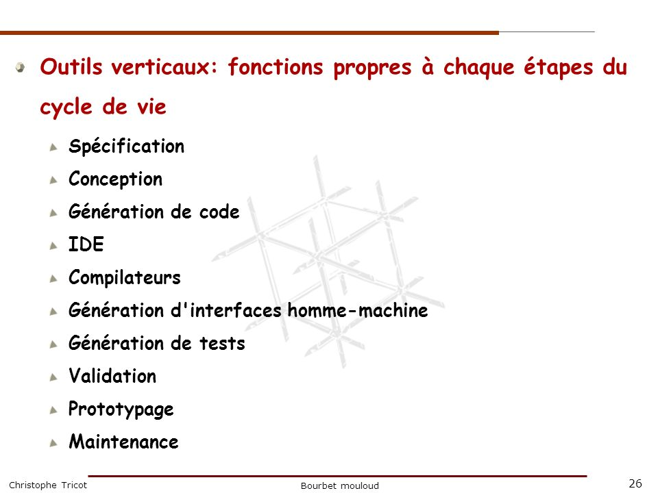 26 Christophe Tricot Bourbet mouloud Outils verticaux: fonctions propres à chaque étapes du cycle de vie Spécification Conception Génération de code I