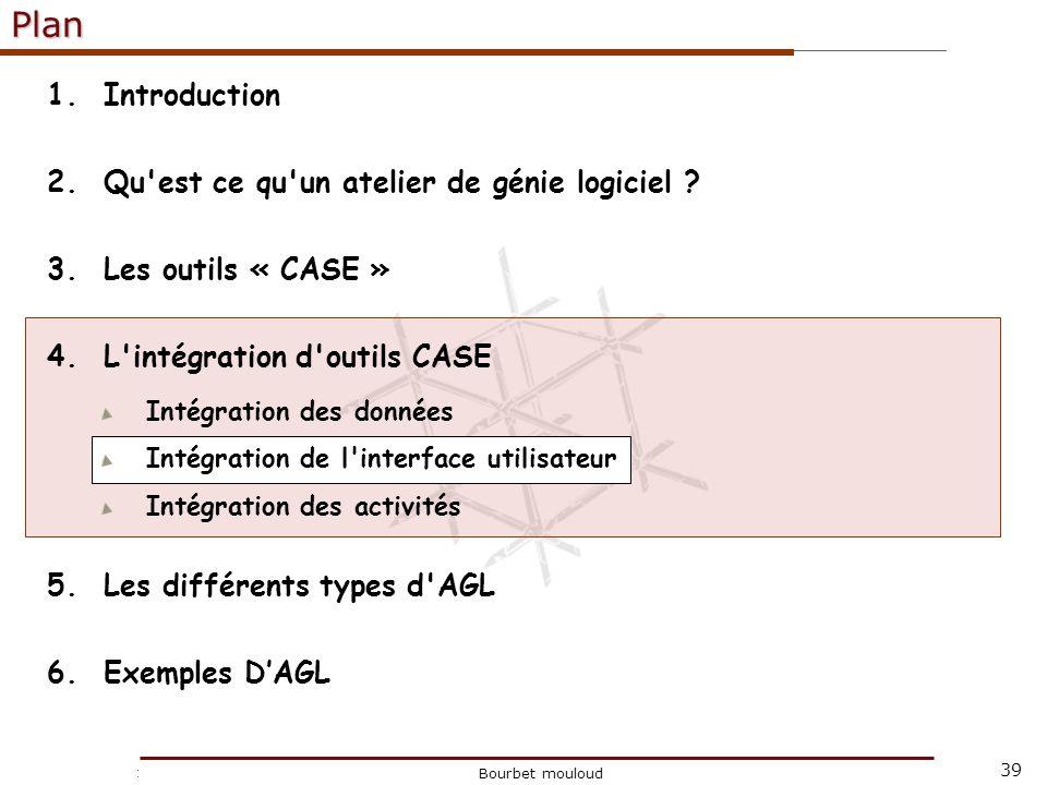 39 Christophe Tricot Bourbet mouloudPlan 1.Introduction 2.Qu'est ce qu'un atelier de génie logiciel ? 3.Les outils « CASE » 4.L'intégration d'outils C