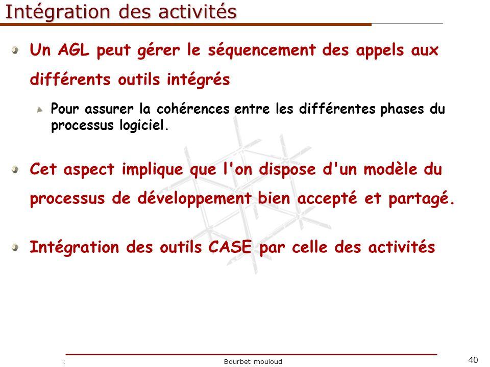 40 Christophe Tricot Bourbet mouloud Intégration des activités Un AGL peut gérer le séquencement des appels aux différents outils intégrés Pour assure