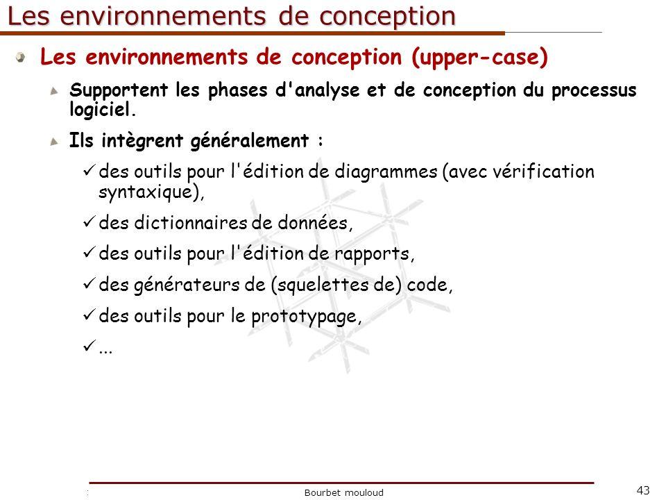 43 Christophe Tricot Bourbet mouloud Les environnements de conception Les environnements de conception (upper-case) Supportent les phases d'analyse et
