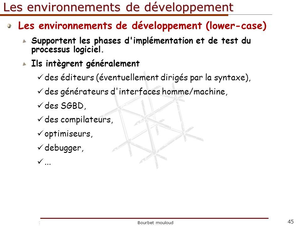 45 Christophe Tricot Bourbet mouloud Les environnements de développement Les environnements de développement (lower-case) Supportent les phases d'impl