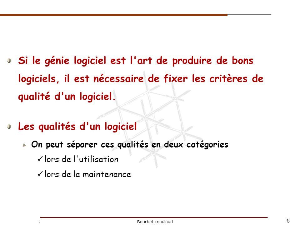 7 Christophe Tricot Bourbet mouloud Les qualités du logiciel lors de l utilisation fiabilité (correction et robustesse), adéquation aux besoins (y compris aux besoins implicites !), ergonomie (simplicité et rapidité d emploi, personnalisation), efficacité, convivialité, faible coût et respect des délais bien entendu, etc.