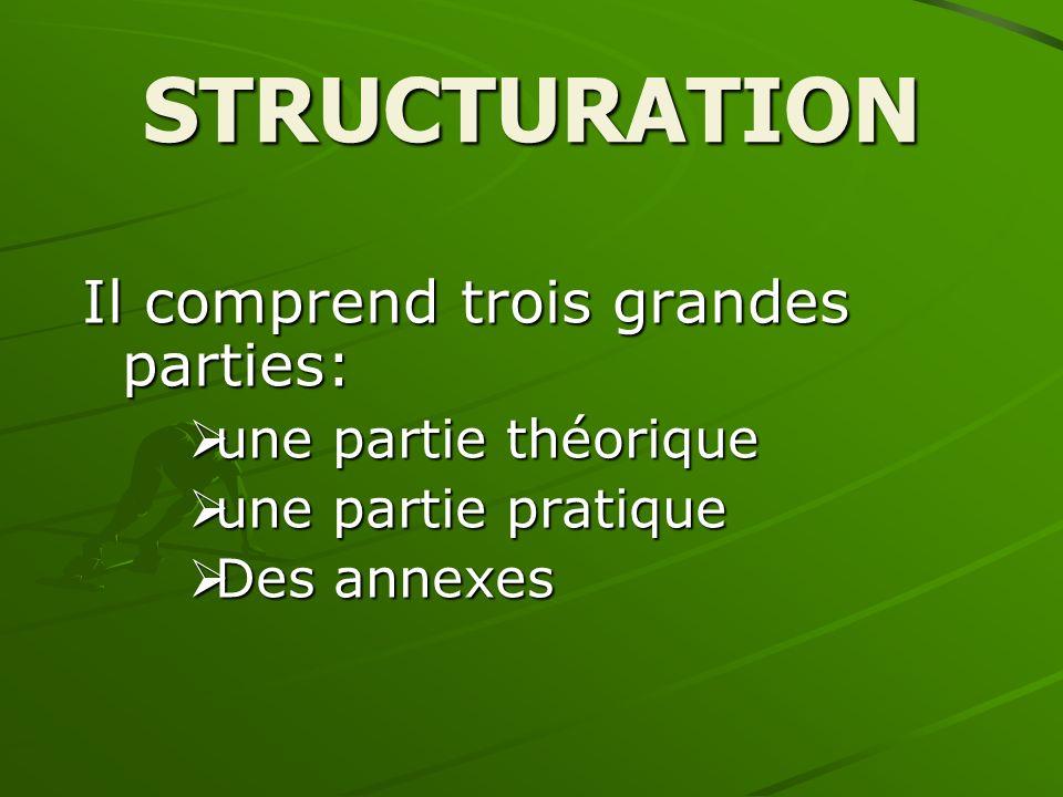 STRUCTURATION Il comprend trois grandes parties: une partie théorique une partie pratique Des annexes