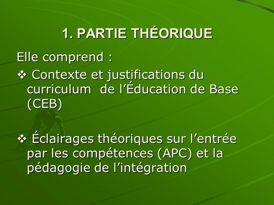 1. PARTIE THÉORIQUE Elle comprend : Contexte et justifications du curriculum de lÉducation de Base (CEB) Contexte et justifications du curriculum de l