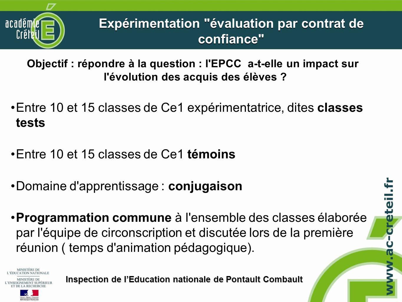 Objectif : répondre à la question : l'EPCC a-t-elle un impact sur l'évolution des acquis des élèves ? Entre 10 et 15 classes de Ce1 expérimentatrice,