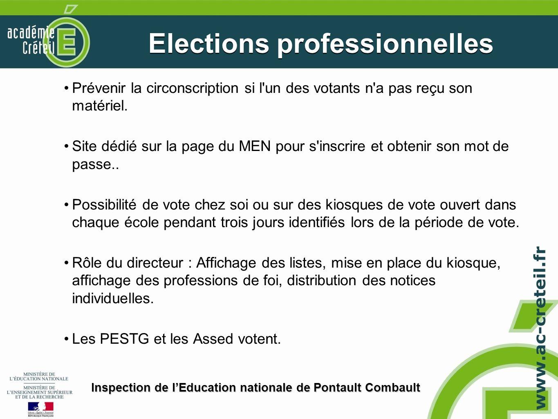 Prévenir la circonscription si l'un des votants n'a pas reçu son matériel. Site dédié sur la page du MEN pour s'inscrire et obtenir son mot de passe..