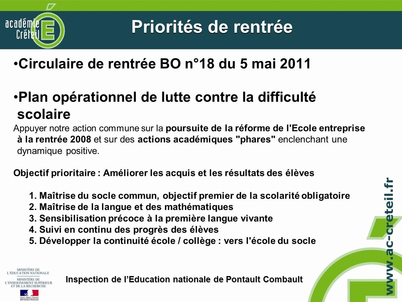 Circulaire de rentrée BO n°18 du 5 mai 2011 Plan opérationnel de lutte contre la difficulté scolaire Appuyer notre action commune sur la poursuite de