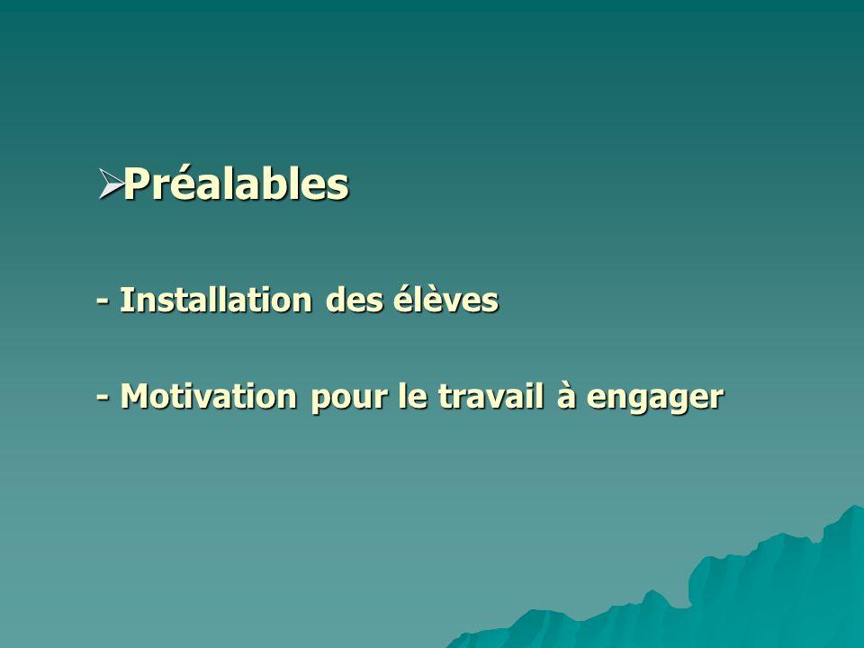 Préalables Préalables - Installation des élèves - Installation des élèves - Motivation pour le travail à engager