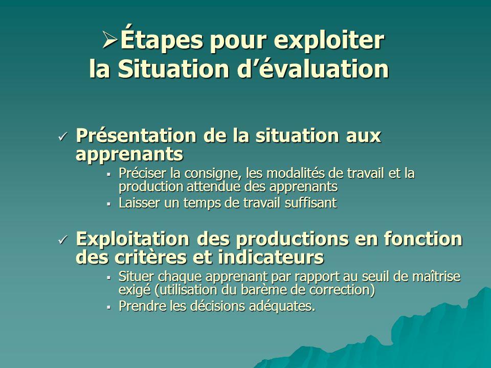 Étapes pour exploiter la Situation dévaluation Étapes pour exploiter la Situation dévaluation Présentation de la situation aux apprenants Présentation