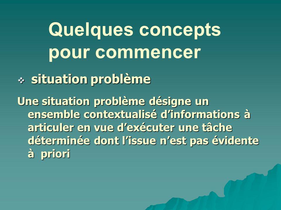 situation problème situation problème Une situation problème désigne un ensemble contextualisé dinformations à articuler en vue dexécuter une tâche dé